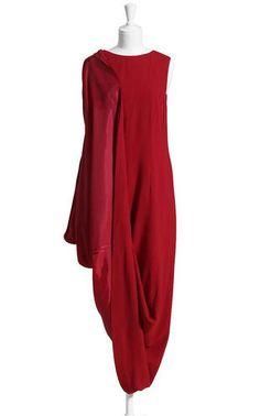 Maison Martin Margiela H M Red Asymmetric Hitched Up Evening Drape Dress