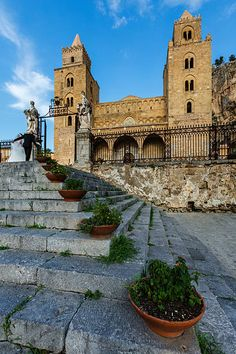 Steps to Cefalu Cathedral, Cefalu, Sicily, Italy