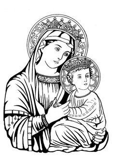 Image: Colouring: Virgin Mary with baby Jesus 05 <br> صورة تلوين القديسة مريم العذراء والدة الإله والطفل يسوع