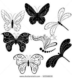stock vector : black silhouettes of stylized butterflies and dragonflies on a white background.