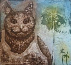 Cat on holiday / Lomakissa Anna-Maija Mattila-Selin www. Intaglio Printmaking, Anna, Kitty, Cats, Artist, Painting, Fictional Characters, Instagram, Holiday