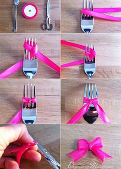 Diy : cute ribbon bow made using a fork diy как сделать бант Diy And Crafts, Arts And Crafts, Paper Crafts, Diy Bow, Ribbon Bows, Ribbons, Ribbon Diy, How To Make Bows, Diy Gifts