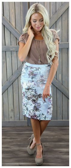 Very Feminine Pastel Skirt. Icy Blue background with soft pink, lavender, moss green and white flowers. Pencil Skirt in Missy Sizes. Mikarose Skirt.