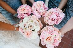 Amazing Pink and White Rose Bouquets.  This wedding was held at the classy Georgian Terrace