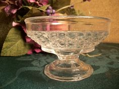 Pressed Glass Bowl Parfait Sherbet Ice Cream Pedestal Dish Dresser Top Trinket…