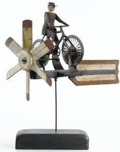 Whirligig; Bicycle Rider, Propeller Type, Carved & Painted, 28 inch.