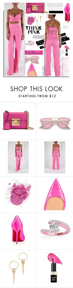 """RickiBrazil.com: Think Pink!"" by hamaly ❤ liked on Polyvore featuring Gucci, Christian Louboutin, Allurez, Alexis Bittar, Kerr®, Pink, ootd, pants, SpringStyle and rickibrazil"