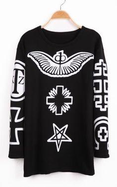 Black Sleeveless Wing Cross Pattern Sweatshirt  #SheInside