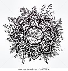 Hand drawn ornate rose flower in the crown of leaves and sticks. Isolated Vector illustration. Invitation element. Tattoo, astrology, alchemy, boho and magic symbol.
