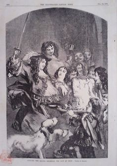 1854 PRINT CHARLES THE SECOND KNIGHTING THE LOIN OF BEEF DRAWN BY GILBERT