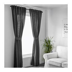 "INGERT Curtains with tie-backs, 1 pair - 57x98 "" - IKEA, dark gray"