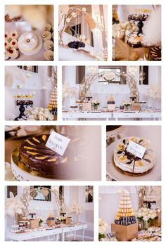 Art Deco great Gatsby Feathers white gold and black sweets bar, candy bar backdrop