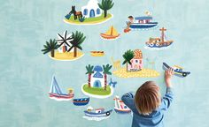 Wall Stickers by Christopher Corr Upholstery Fabrics, Prints, Drapes & Wallcoverings Wall Stickers, Wall Decals, Ville New York, Baby Prince, Illustrations, Kids Furniture, Design Elements, How To Memorize Things, Nursery