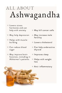 An Indian shrub used in medication for thousands of years, ashwagandha is an adaptogen herb with tons of amazing benefits, from helping with stress to lowering blood sugar to helping with weight loss. Health And Nutrition, Health And Wellness, Health Fitness, Holistic Nutrition, Health Foods, Wellness Tips, Health Benefits, Health Care, Natural Health Remedies