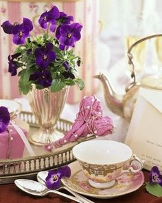 Pansies and morning tea