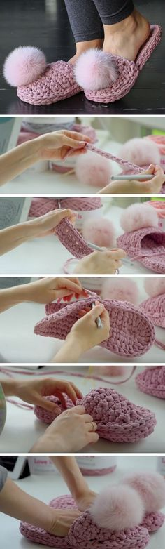 What a beautiful slippers have I found on the Russian website . They had an absolutely astonishing tutorial for these super cute slippers. Crochet Diy, Crochet Boots, Crochet Slippers, Love Crochet, Crochet Crafts, Yarn Crafts, Crochet Clothes, Crochet Projects, Crochet House