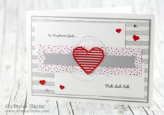 Stampinup Valentine's Day Card; Stampinup With greeting and kiss; Matchthesketch; Make your own Valentine's day card; Stampinup Spring catalog 2017; Stamp-bee