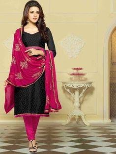 #Black with #Pink Combination of Resham Work #Suit For Fashionable Women Grab Here @ http://goo.gl/fPNZ1Q #NaarikeSangVastrang
