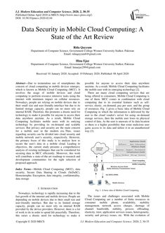 PDF | Due to tremendous use of smartphones the concern of cloud computing in mobile devices emerges, which is known as Mobile Cloud Computing (MCC). It... | Find, read and cite all the research you need on ResearchGate Montpellier, Location Based Service, Research Publications, Gazette, Cloud Computing, Big Data, State Art, Computer Science, University