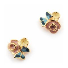Butterfly Floral Cluster Gold Stud Earrings (135 BRL) ❤ liked on Polyvore featuring jewelry, earrings, butterfly earrings, gold butterfly earrings, flower jewellery, gold flower earrings and flower earrings