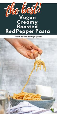 Craving a creamy pasta? If so, you need to give this Vegan Creamy Roasted Red Pepper Pasta a try. This simple dinner takes no time to whip up, and it's also fantastic for meal prepping for the week. One Pot Vegetarian, Easy Vegetarian Dinner, Vegetarian Pasta Recipes, Vegan Dinner Recipes, Vegan Dinners, Roasted Red Pepper Pasta, Vegan Cookbook, Vegan Comfort Food, Creamy Pasta