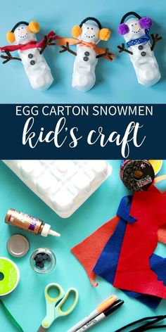 Beat the winter blues with this fun and easy craft! Basic craft supplies + egg carton + little helpers makes a great craft for cold days! Winter Crafts For Toddlers, Easy Toddler Crafts, Halloween Activities For Kids, Christmas Activities, Halloween Fun, Diy For Kids, Easy Crafts, Kids Crafts, Egg Carton Art
