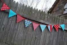 Boy's Train Birthday Party Bunting, Party Banner, Playroom Decoration -- in red & aqua blue fabric flags.