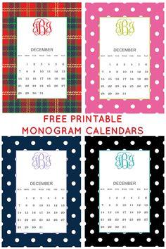 Free Printable Monogram December Calendars from Chicfetti.com