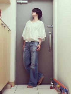 DIESELのデニムパンツ「バギーパンツ」を使ったmomoyoのコーディネートです。WEARはモデル・俳優・ショップスタッフなどの着こなしをチェックできるファッションコーディネートサイトです。