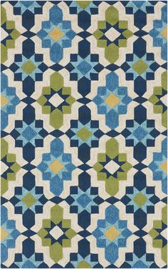 Surya Storm Rug has great colours in a pattern that's almost like a traditional Moroccan tile but with a modern feeling
