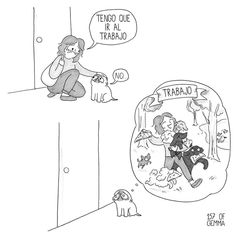 """Gemma Gené: """"I missed my pug Mochi so much while I was at work that I started drawing about him on the subway on my way to and back from work."""" That's how these adorable comics were born. Mochi, Shih Tzu, Pug Cartoon, Dog Comics, Baby Pugs, Pug Art, Pug Puppies, Chihuahuas, Pug Love"""