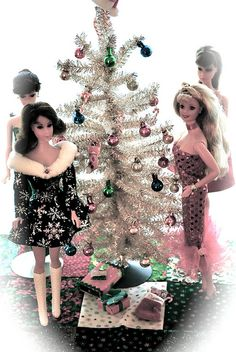 Barbie Christmas tree made out of sparkly pipecleaners.