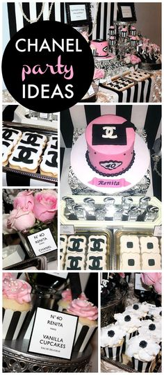 A glamorous Chanel themed 40th birthday with a stunning dessert table, flowers and treats!  See more party planning ideas at CatchMyParty.com!