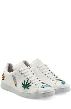 Embroidered Leather Sneakers detail 0