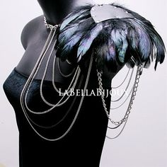 Silver Body Chain Feathered Shoulder by LaBellaBijoux on Etsy, $50.00