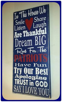 In this house we cheer-root for verse handpainted wooden wall sign, perfect for football fans, NFL, new england patriots, gift ideas