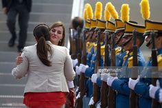 Queen Letizia of Spain and Ana García Carías, First Lady of Honduras greet at Soto Cano Air Base on May 25, 2015 in Comayagua, Honduras. Queen Letizia started a two-day visit to Honduras to supervise Spanish cooperation programs in the country. (Photo by Delmer Membreño/LatinContent/Getty Images)