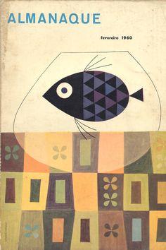 Sebastião Rodrgiues' cover for Portuguese magazine Almananque, February 1960 Book Cover Art, Book Cover Design, Book Design, Design Design, Illustration Photo, Graphic Illustration, Design Bauhaus, Vintage Book Covers, Design Poster