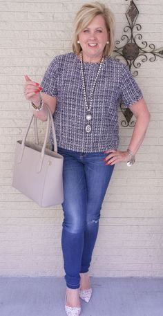 50 IS NOT OLD | STYLING A TWEED CROP TOP | FASHION OVER 40 | Mixing classics and trends | Tweed and jeans | Jackie O | Pearls and Jeans | Fashion over 40 for the everyday woman