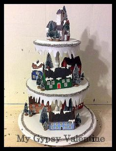 Whimsical Tiered Christmas Village Christmas by MyGypsyValentine