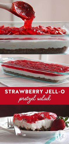 This Strawberry Pretzel Salad is a classic dessert that continues to be a favorite! #strawberry #jello #pretzel #dessert #recipe via @inspiredbycharm