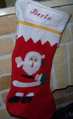 calcetín navideño punto de cruz