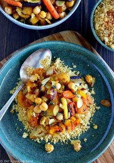 This Moroccan chickpea tagine with apricots, toasted almonds and deep, warm spices is an easy stew to prepare, family-friendly, and deeply satisfying. #Tagine #moroccancuisine #moroccanfood #couscous #healthyrecipes #vegan Easy Salads, Healthy Salad Recipes, Veggie Recipes, Vegetarian Recipes, Cooking Recipes, Chickpea Recipes, Crockpot Recipes, Dinner Recipes, Korma
