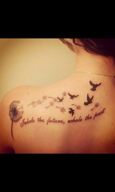 Meaningful Tattoos – My newest tattoo! 'Inhale the future, exhale the past' dandelion and birds ♥ coolTop Meaningful Tattoos - My newest tattoo! Inhale the future, exhale the past dandelion and birds ♥ Feather Tattoos, Foot Tattoos, Body Art Tattoos, Small Tattoos, Wing Tattoos, Tatoos, Tattoos For Kids, Tattoo Son, Back Tattoo