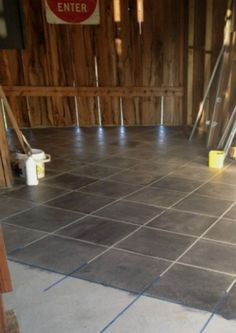 You'll wish you had a concrete floor when you see these stunning ideas You'll wish you had a concrete floor when you see these stunning ideas 13 Shocking Ways to Transform Your Concrete Floor - masonry, flooring, Or stain it into a tiled floor Finished Concrete Floors, Concrete Basement Floors, Basement Flooring Options, Painted Concrete Floors, Porch Flooring, Painting Concrete, Stained Concrete, Diy Flooring, Plywood Floors