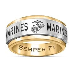 Solid stainless steel and gold ion-plated men& ring with USMC emblem, spinning center band and engraving. Marine card and presentation box. Usmc Emblem, Marine Corps Emblem, Once A Marine, Marine Mom, Usmc Ring, Marine Corps Rings, Camo Rings, Blue Rings, Military Gifts