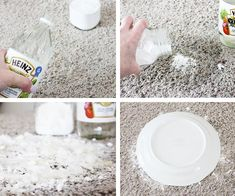 Removing pet stains - Pour enough vinegar to soak the stain and THEN add a small amount of baking soda. Let the spot dry for a day or two before sweeping up and then vacuuming. Cover the spot with a bowl or plate to avoid stepping on it. #HowToCleanCarpetStains