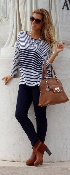 STRIPED SWEATER & JEANS! but the shoes that are shown with this outfit are all wrong. the really need to be black