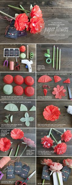 DIY Teacher Appreciation Flowers diy craft crafts diy crafts how to craft flowers diy gifts craft gifts tutorials teachers Paper Flowers Diy, Handmade Flowers, Flower Crafts, Diy Paper, Fabric Flowers, Flower Diy, Flower Pens, Tissue Paper, Craft Flowers