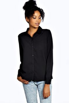 Bernadette Basic Woven Shirt at boohoo.com